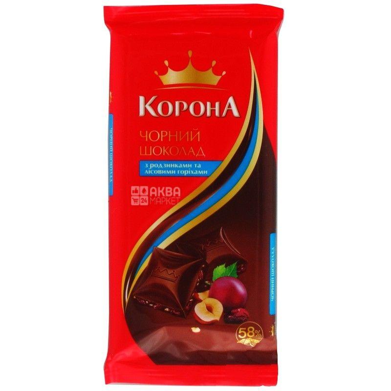 Корона, 90 г, шоколад черный, с изюмом и лесными орехами, 58% какао