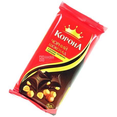 Корона, 90 г, чорний шоколад, з лісовими горіхами, 58% какао