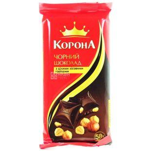 Корона, 90 г, черный шоколад, с лесными орехами, 58% какао