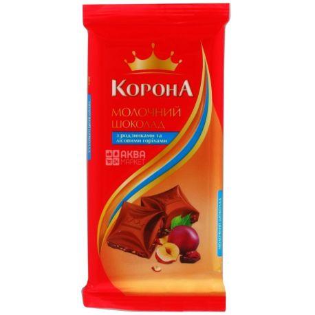 Корона, 90 г, молочний шоколад, з родзинками та лісовими горіхами, 58% какао