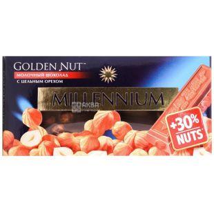 Millenium, 100 г, молочний шоколад, з лісовим горіхом, Golden Nut