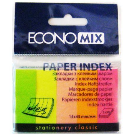 Economix, 150 шт. по 30 л., 15х45 мм, индексы, Бумажные, 5 цветов, Неон, м/у