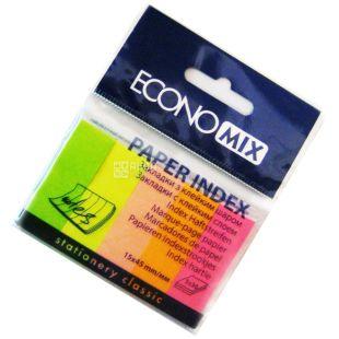 Economix, 150 шт. по 30 арк., 15х45 мм, індекси, Паперові, 5 кольорів, Неон, м/у