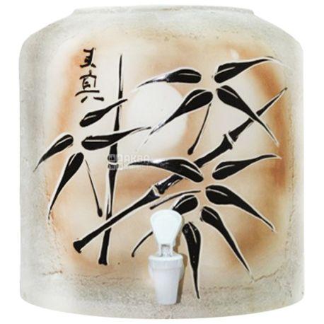 Диспенсер керамический для воды Бамбук, Коричневый, Шамот
