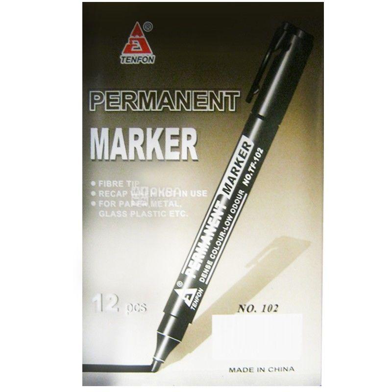 TENFON, 2-4 мм, маркер перманентный, Черный, м/у