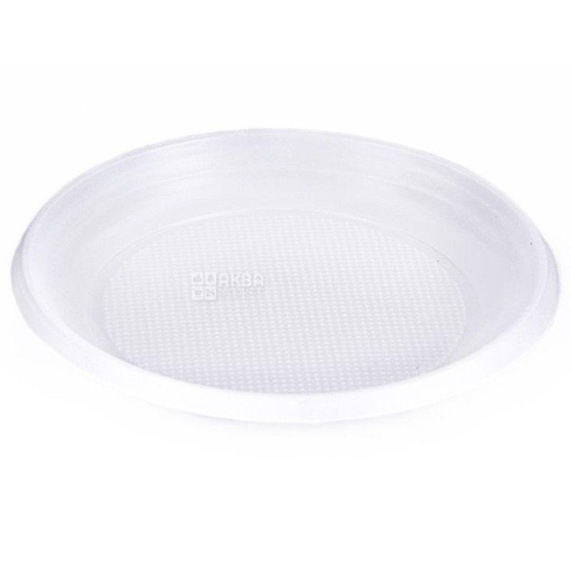 Одноразовая тарелка 100 шт., Д 165 мм Белая пластик, ТМ Промтус