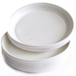 Disposable plate 100 pcs., D 165 mm White plastic, TM Promtus