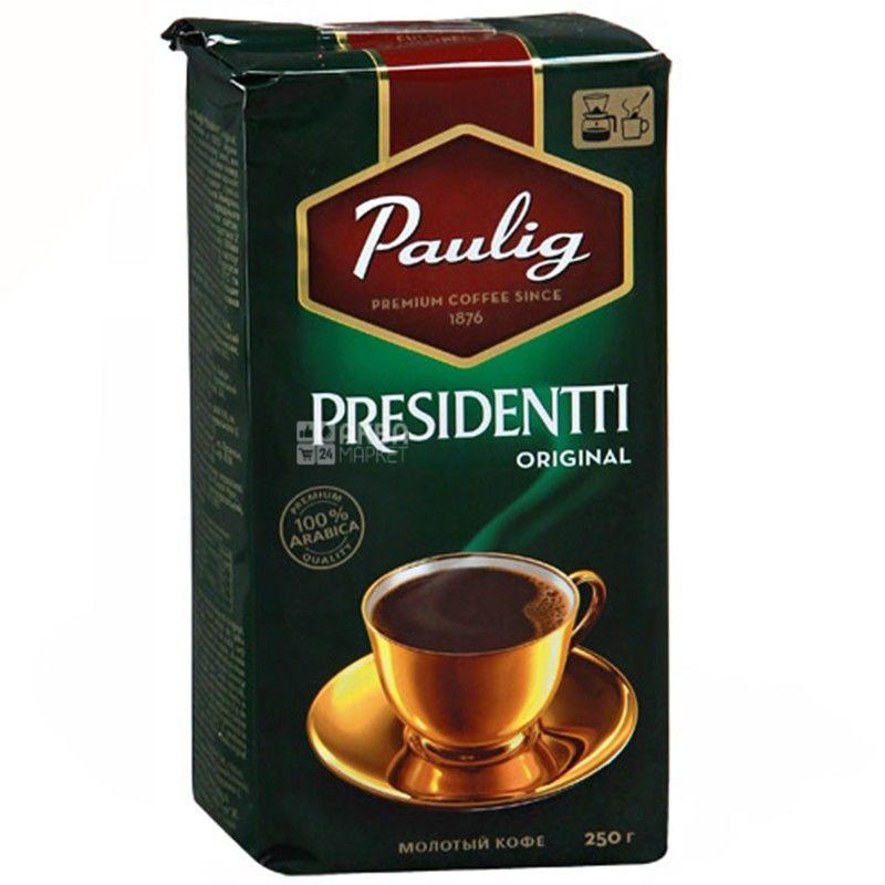Paulig Presidentti Original, 250 г, Кофе Паулиг Президент Ориджинал, средней обжарки, молотый