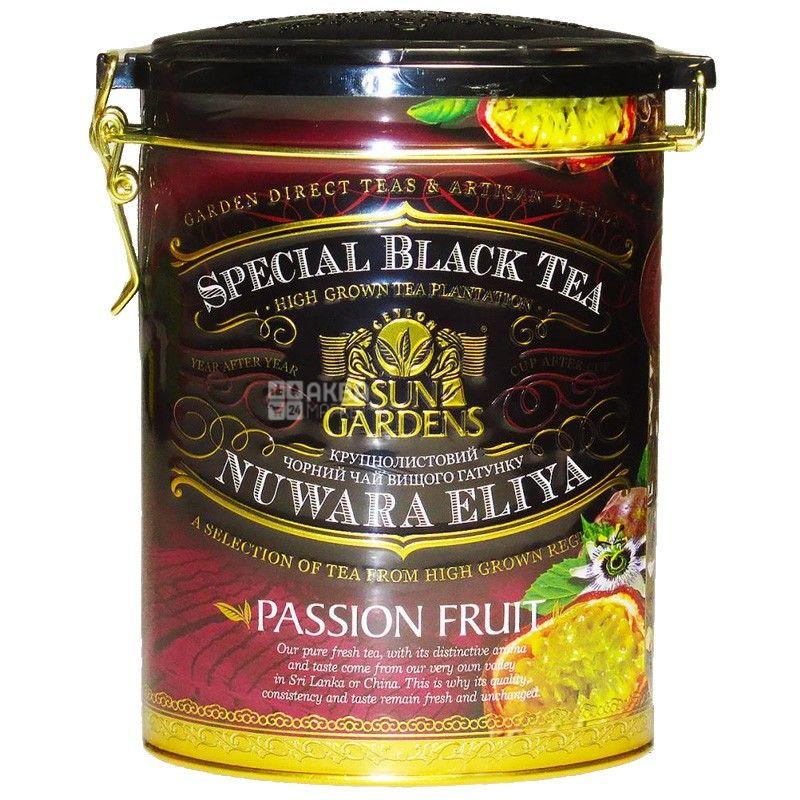 Sun Gardens, Passion Fruit, 100 г, Чай Сан Гарденс, Пристрасний фрукт, чорний з маракуйєю, крупнолистовий, ж/б