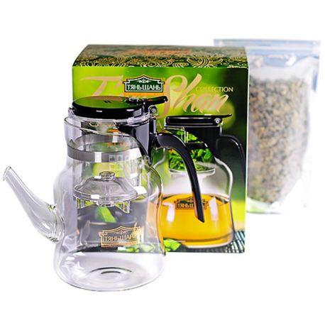 Тянь Шань, Gunpowder, 100 г, Teapot, 900 мл, Чайний набір, чай Ганпаудер, зелений + заварник