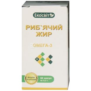 Ekosvit Oil Fish fat, 60 cap. 0.3 g, Vitamin complex