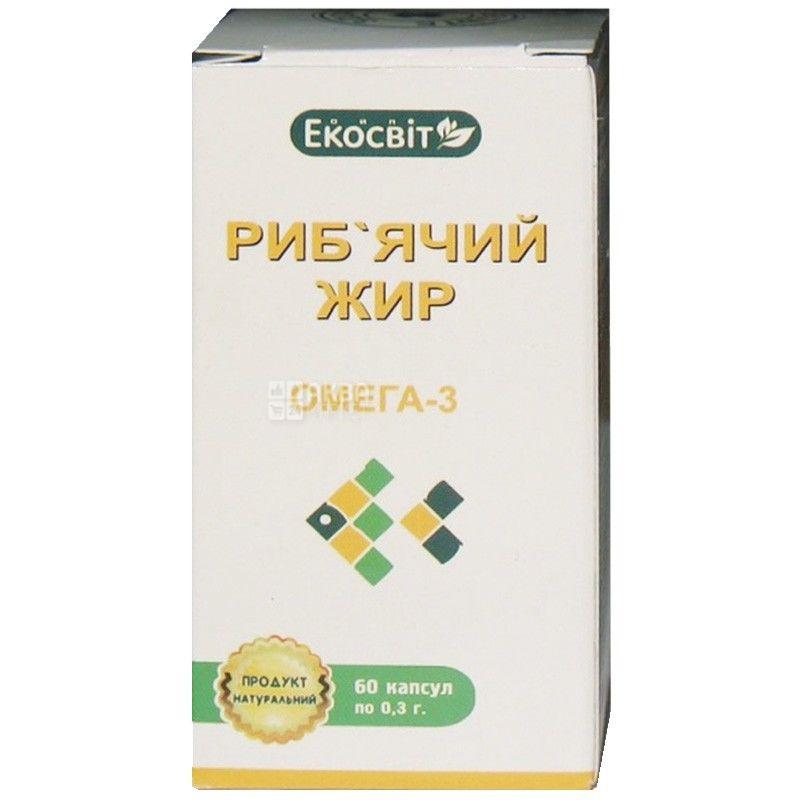 Экосвит Ойл Жир рыбий, 60 кап. по 0,3 г, Витаминный комплекс