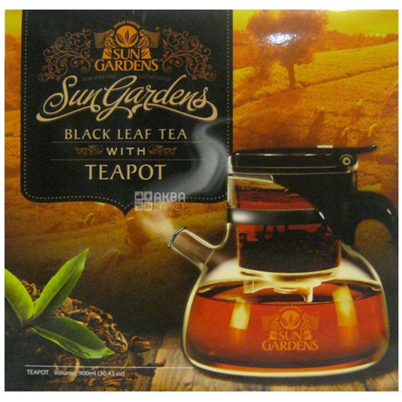 Sun Gardens, PEKOE, 100 г + Teapot, 900 мл, Чайный набор Сан Гарденс, Пекое, черный, крупнолистовой + заварник