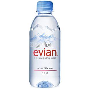 Evian, 0,33 л, Вода негазована, Мінеральна, ПЕТ