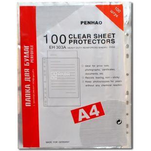 Penhao, Files transparent for A4 sheets, 40 microns, 100 pcs.